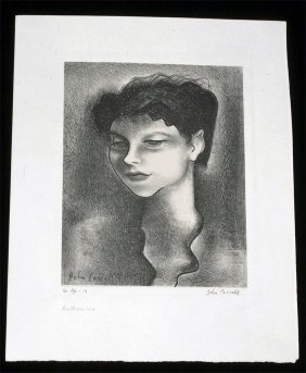 John Carroll Litho Portrait Of Artist Katherine Schmidt
