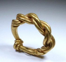 Weighty 10th C. Viking Twisted Gold Finger Ring