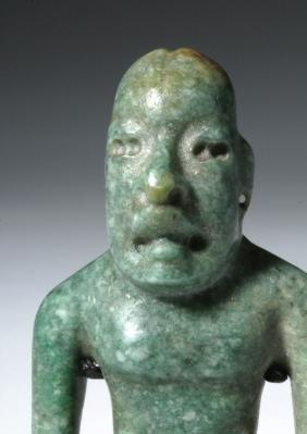 Important Olmec Blue-green Jade Were Jaguar Figure