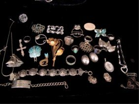 Assorted Lot Of Sterling Necklaces, Earrings, Hobe