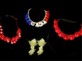 3 Lucite Necklaces And Floral Earrings