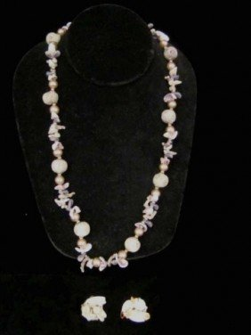 Miriam Haskell Floral Shell Necklace With Earrings
