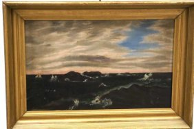 Oil On Canvas,Unsigned Seascape