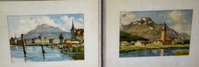 Pair Of Watercolors, Swiss Landscapes- Signed