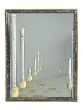 A EBONIZED FRAME MIRROR