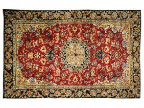 A PERSIAN ESFAHAN RUG 7 Ft 2 In X 10 Ft 1 In