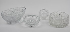 FOUR PIECES OF CUT CRYSTAL BOWLS
