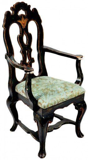 VICTORIAN HANDPAINTED WOOD ARMCHAIR