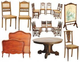 A LARGE LOT OF HENRI II AND LOUIS XV STYLE WALNUT A