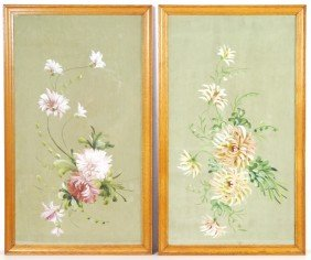 PAIR OF ORIGINAL PAINTINGS ON SILK IN OAK FRAMES