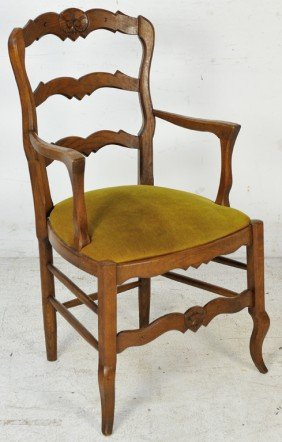 LOUIS XV STYLE OAK ARMCHAIR WITH UPHOLSTERED SEAT E