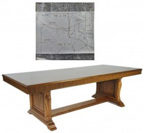 A LARGE WALNUT DOUBLE PEDESTAL CONFERENCE TABLE FROM