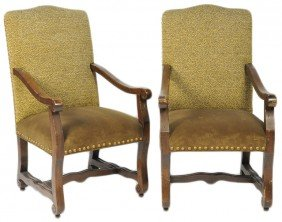 A PAIR OF FRENCH INSPIRED ARM CHAIR