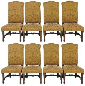 EIGHT HIGHBACK ITALIAN RENAISSANCE SIDE CHAIRS