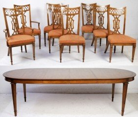 WALNUT TABLE WITH SET OF 8 CHAIRS AND TWO LEAVES