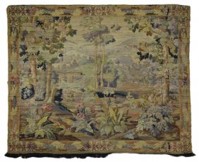 EUROPEAN LARGE VERDURE WOOL TAPESTRY CIRCA MID 20TH
