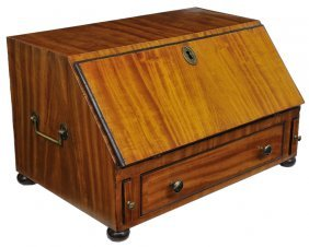 A DIMINUTIVE SATINWOOD TABLE TOP DESK Continental,