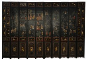 A CHINESE PAINTED, CARVED AND PARCEL GILT TEN PANE
