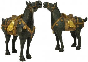 A PAIR OF LARGE HARD STONE INLAID AND ENAMELED CHI