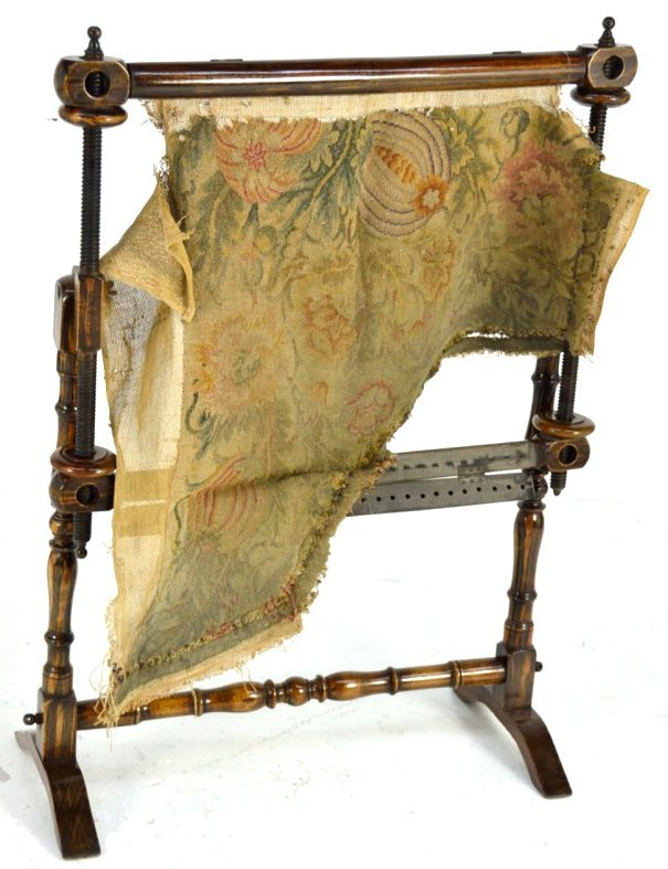 6 antique floor standing tapestry frame lot 6. Black Bedroom Furniture Sets. Home Design Ideas