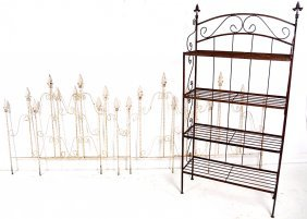 FIVE PIECES OF DECORATIVE GARDEN IRONWORK