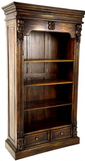 HAND CARVED BOOKCASE OF RECLAIMED ANTIQUE WOOD