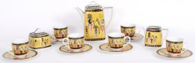 AN EGYPTIAN STYLE TEA SERVICE FOR SIX
