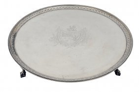 A LARGE BRITISH STERLING SILVER PLATEAU 19th Centur