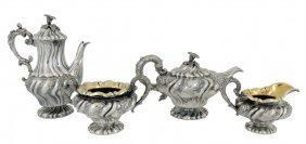 A GEORGE IV FOUR PIECE STERLING SILVER TEA SERVICE