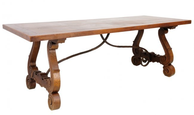 102 ANTIQUE SPANISH OAK DINING TABLE Lot 102 : 147603881l from www.liveauctioneers.com size 650 x 385 jpeg 23kB