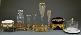 A COLLECTION OF VINTAGE GILT, CUT CRYSTAL AND GLASS