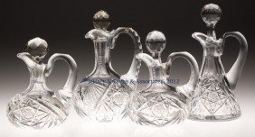 FRY AND OTHER CUT GLASS CRUETS, LOT OF FOUR