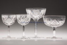 FRY CUT GLASS STEMS, LOT OF FOUR