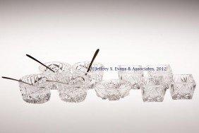 FRY CUT GLASS SALTS, LOT OF NINE