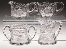 FRY CUT GLASS CREAM AND SUGAR, TWO SETS