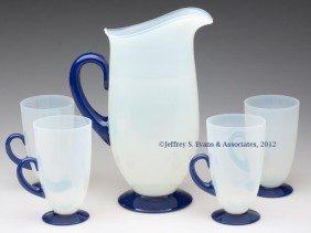 FRY ART GLASS FIVE-PIECE LEMONADE SET