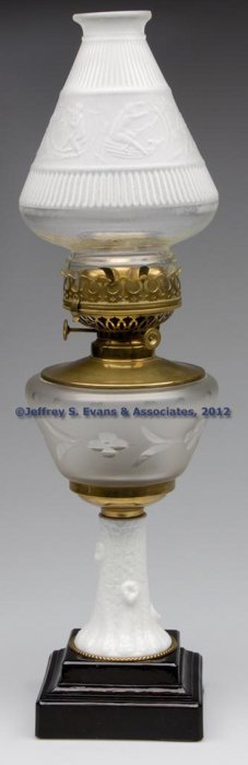 ENGRAVED AND FROSTED FIGURAL STAND LAMP