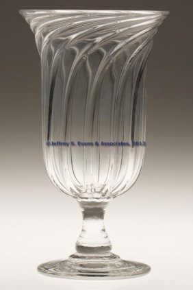 SWIRLED PILLAR-MOLDED VASE OR CELERY GLASS