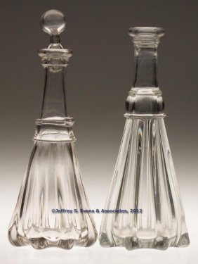 PILLAR-MOLDED PINT DECANTERS, LOT OF TWO