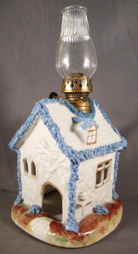 STAFFORDSHIRE CERAMIC COTTAGE ADAPTED MINIATURE LAMP : Lot 55