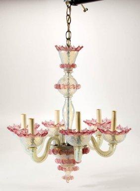 Murano Opalescent Art Glass Chandelier