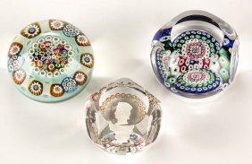 Assorted Studio Art Glass Paperweights, Lot Of Three