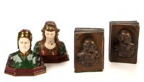 Assorted Figural Metal Bookends, Two Pair