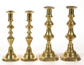 Assorted Brass Candlesticks, Lot Of Four