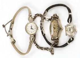 Vintage White Gold Cased Lady's Wrist Watches, Lot Of