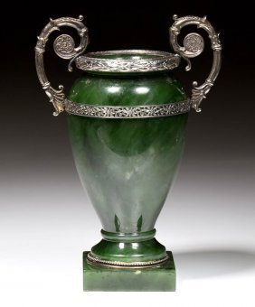 Russian Silver And Jade Cabinet Urn In The Manner Of
