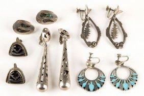 Vintage Mexican Sterling Silver Earrings, Five Pair