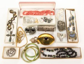 Assorted Vintage Costume Jewelry, Lot Of 23 Pieces