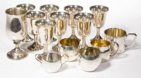 Sterling Silver Drinking Articles, Lot Of 14
