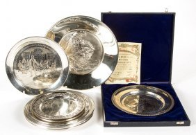 Assorted Sterling Silver Commemorative Plates, Lot Of